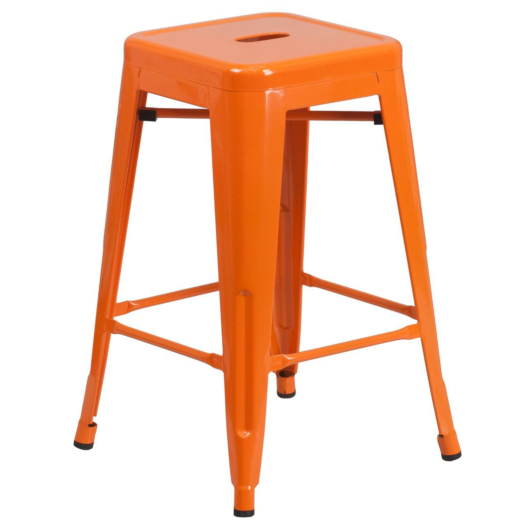 24'' High Backless Orange Metal Indoor-Outdoor Counter Height Stool with Square Seat