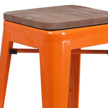 "Load image into Gallery viewer, 24"" High Backless Orange Metal Counter Height Stool with Square Wood Seat"