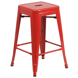 24'' High Backless Red Metal Indoor-Outdoor Counter Height Stool with Square Seat