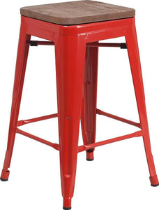 "24"" High Backless Red Metal Counter Height Stool with Square Wood Seat"