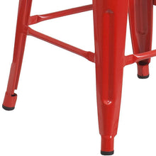 "Load image into Gallery viewer, 24"" High Backless Red Metal Counter Height Stool with Square Wood Seat"