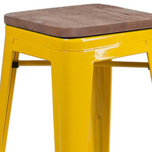"Load image into Gallery viewer, 24"" High Backless Yellow Metal Counter Height Stool with Square Wood Seat"