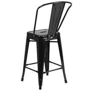 24'' High Black Metal Indoor-Outdoor Counter Height Stool with Back