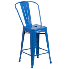 Load image into Gallery viewer, 24'' High Blue Metal Indoor-Outdoor Counter Height Stool with Back