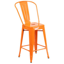 Load image into Gallery viewer, 24'' High Orange Metal Indoor-Outdoor Counter Height Stool with Back