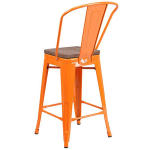 "24"" High Orange Metal Counter Height Stool with Back and Wood Seat"