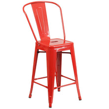 Load image into Gallery viewer, 24'' High Red Metal Indoor-Outdoor Counter Height Stool with Back