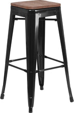 "Load image into Gallery viewer, 30"" High Backless Black Metal Barstool with Square Wood Seat"