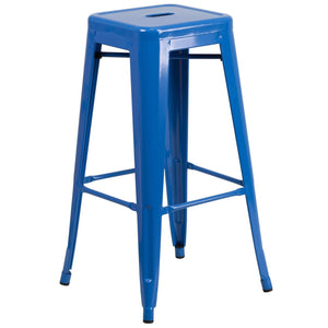 30'' High Backless Blue Metal Indoor-Outdoor Barstool with Square Seat