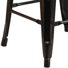 "Load image into Gallery viewer, 30"" High Backless Black-Antique Gold Metal Barstool with Square Wood Seat"