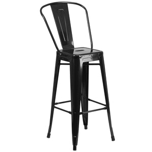 30'' High Black Metal Indoor-Outdoor Barstool with Back
