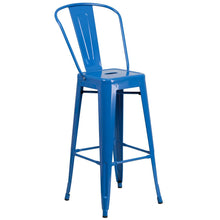 Load image into Gallery viewer, 30'' High Blue Metal Indoor-Outdoor Barstool with Back