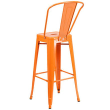 Load image into Gallery viewer, 30'' High Orange Metal Indoor-Outdoor Barstool with Back