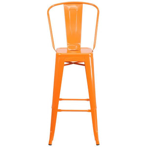 30'' High Orange Metal Indoor-Outdoor Barstool with Back
