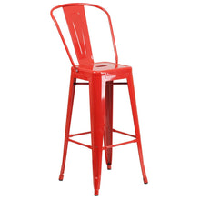 Load image into Gallery viewer, 30'' High Red Metal Indoor-Outdoor Barstool with Back