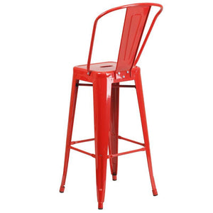 30'' High Red Metal Indoor-Outdoor Barstool with Back