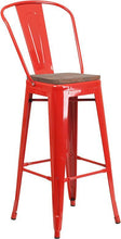 "Load image into Gallery viewer, 30"" High Red Metal Barstool with Back and Wood Seat"