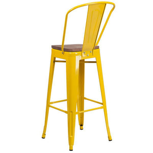 "30"" High Yellow Metal Barstool with Back and Wood Seat"