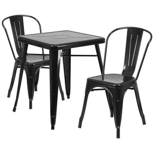 23.75'' Square Black Metal Indoor-Outdoor Table Set with 2 Stack Chairs