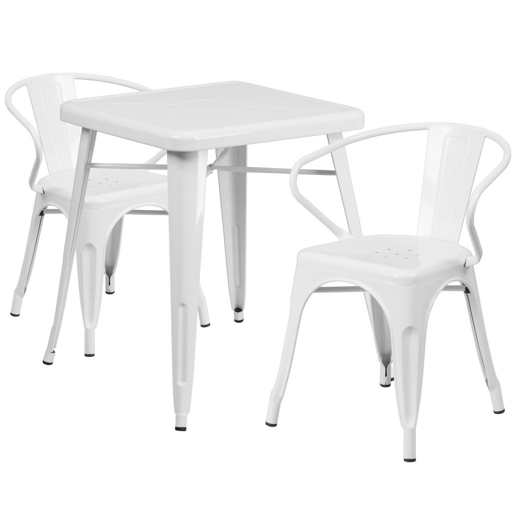 23.75'' Square White Metal Indoor-Outdoor Table Set with 2 Arm Chairs