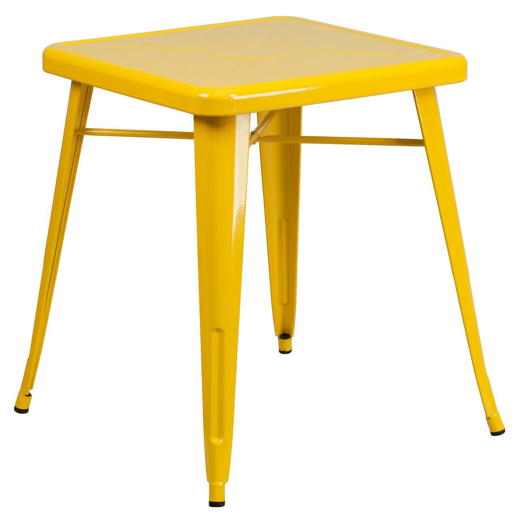 23.75'' Square Yellow Metal Indoor-Outdoor Table