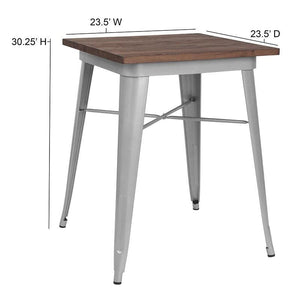 "23.5"" Square Silver Metal Indoor Table with Walnut Rustic Wood Top"
