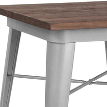 "Load image into Gallery viewer, 23.5"" Square Silver Metal Indoor Table with Walnut Rustic Wood Top"