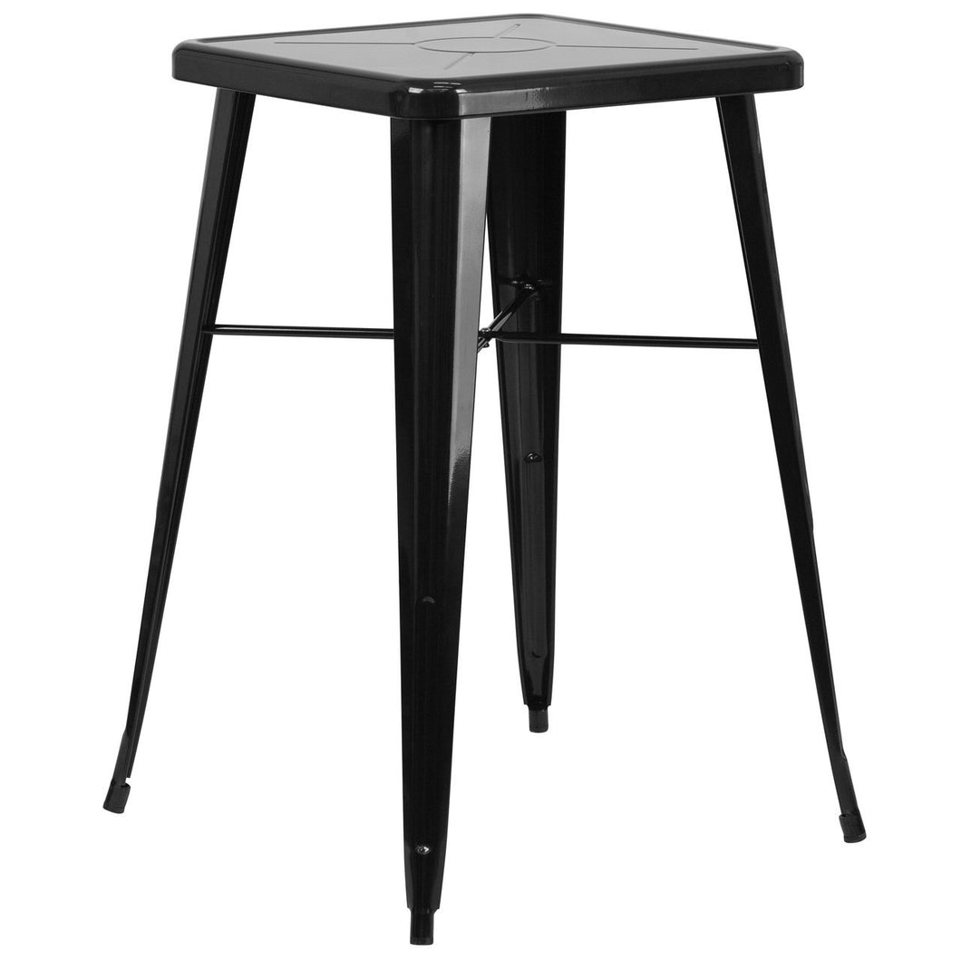 23.75'' Square Black Metal Indoor-Outdoor Bar Height Table