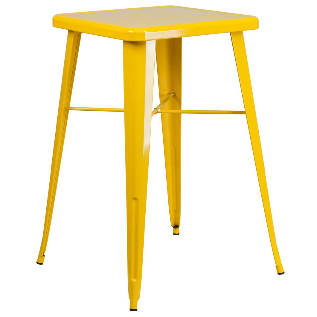 23.75'' Square Yellow Metal Indoor-Outdoor Bar Height Table