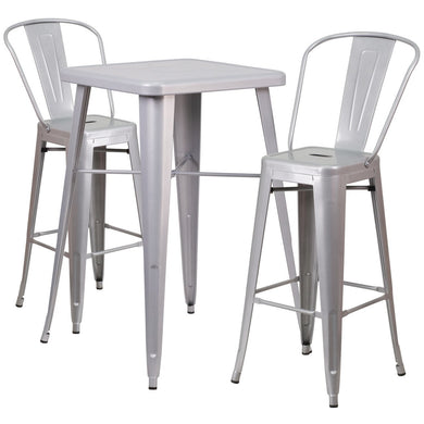 23.75'' Square Silver Metal Indoor-Outdoor Bar Table Set with 2 Stools with Backs
