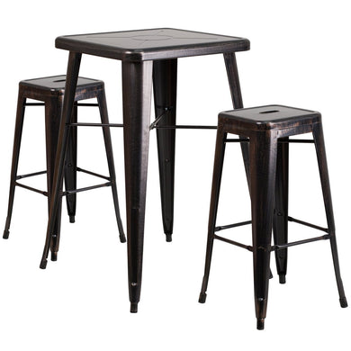23.75'' Square Black-Antique Gold Metal Indoor-Outdoor Bar Table Set with 2 Square Seat Backless Stools