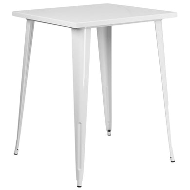31.5'' Square White Metal Indoor-Outdoor Bar Height Table