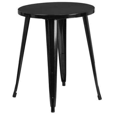 24'' Round Black Metal Indoor-Outdoor Table