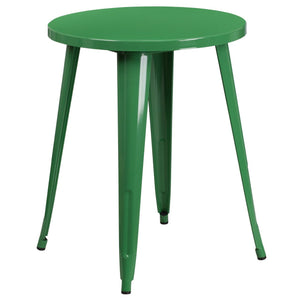 24'' Round Green Metal Indoor-Outdoor Table