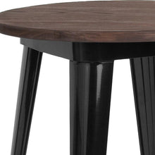 "Load image into Gallery viewer, 24"" Round Black Metal Indoor Table with Walnut Rustic Wood Top"