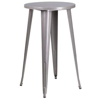 24'' Round Silver Metal Indoor-Outdoor Bar Height Table