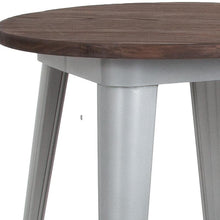 "Load image into Gallery viewer, 24"" Round Silver Metal Indoor Bar Height Table with Walnut Rustic Wood Top"