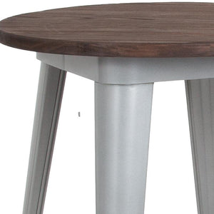 "24"" Round Silver Metal Indoor Bar Height Table with Walnut Rustic Wood Top"