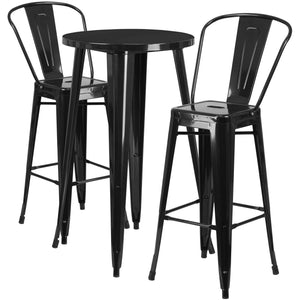 24'' Round Black Metal Indoor-Outdoor Bar Table Set with 2 Cafe Stools