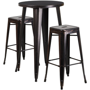24'' Round Black-Antique Gold Metal Indoor-Outdoor Bar Table Set with 2 Square Seat Backless Stools