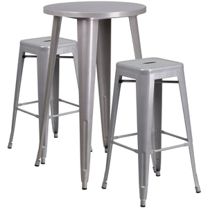 24'' Round Silver Metal Indoor-Outdoor Bar Table Set with 2 Square Seat Backless Stools