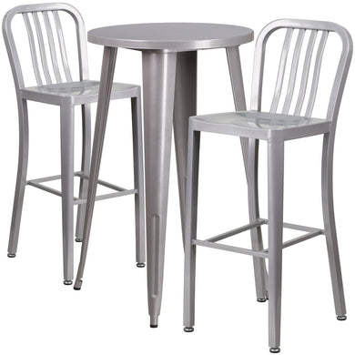 24'' Round Silver Metal Indoor-Outdoor Bar Table Set with 2 Vertical Slat Back Stools