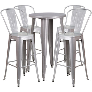 24'' Round Silver Metal Indoor-Outdoor Bar Table Set with 4 Cafe Stools