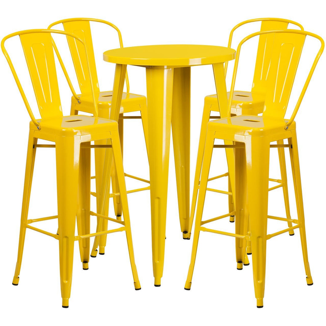 24'' Round Yellow Metal Indoor-Outdoor Bar Table Set with 4 Cafe Stools