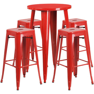 24'' Round Red Metal Indoor-Outdoor Bar Table Set with 4 Square Seat Backless Stools