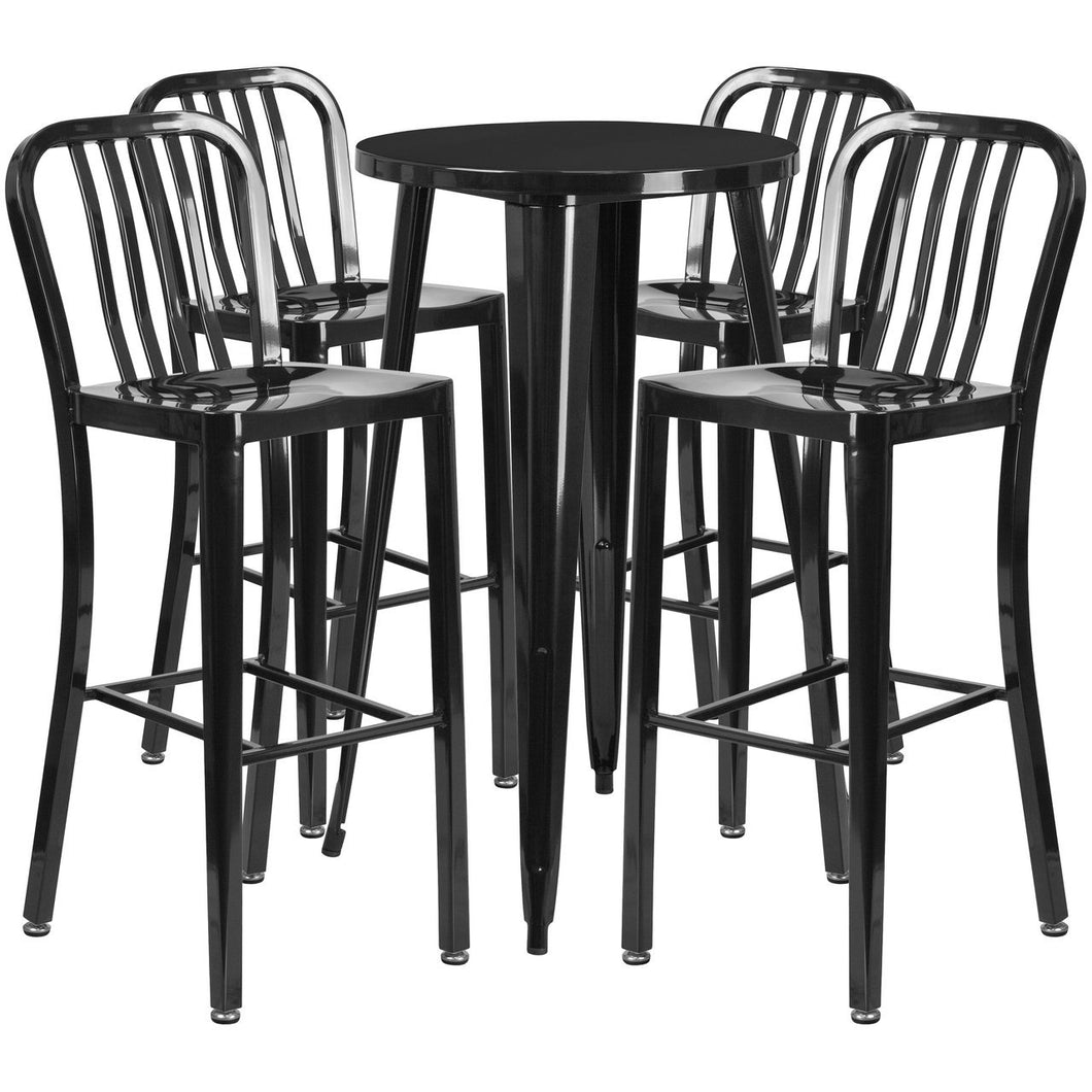 24'' Round Black Metal Indoor-Outdoor Bar Table Set with 4 Vertical Slat Back Stools