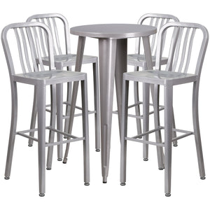 24'' Round Silver Metal Indoor-Outdoor Bar Table Set with 4 Vertical Slat Back Stools