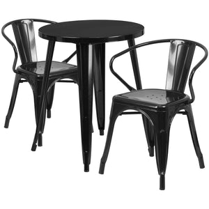 24'' Round Black Metal Indoor-Outdoor Table Set with 2 Arm Chairs