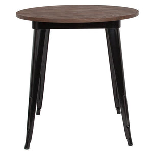 "26"" Round Black Metal Indoor Table with Walnut Rustic Wood Top"