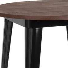 "Load image into Gallery viewer, 26"" Round Black Metal Indoor Table with Walnut Rustic Wood Top"